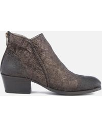 H by Hudson - Apisi Leather Metallic Heeled Ankle Boots - Lyst