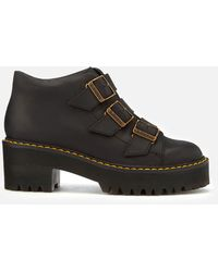 Dr. Martens Coppola Leather Buckle Heeled Boots - Black