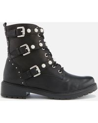 Dune - Risky Leather Biker Boots - Lyst