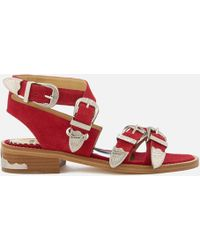 Toga Pulla - Women's Suede Strappy Flat Sandals - Lyst