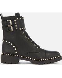 Sam Edelman - Jennifer Tumbled Leather Lace Up Boots - Lyst