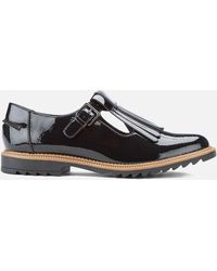 Clarks Griffin Mia Patent Frill T Bar Shoes