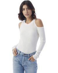 Alternative Apparel - Nytt Grace Ribbed Cold Shoulder Bodysuit - Lyst