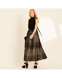 Amanda Wakeley - Black & Oyster Graphic Guipure Skirt - Lyst