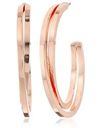 """T Tahari - """"essentials"""" Bright Logo With Cry Cubic Zirconia Stone Hoop Earrings - Lyst"""