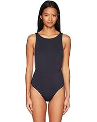 Roxy Solid Softly Love One Piece Swimsuit - Blue