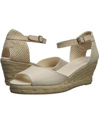 eed2f359b9d Lyst - Soludos Banded Shield Open Toe Espadrille Wedge Sandal in Brown