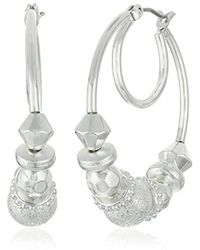 "Nine West - ""classics"" Silver-tone Beaded Click It Hoop Earrings - Lyst"