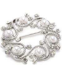 "Napier - ""gift Boxed"" Silver-tone With Pearl Wreath Brooch - Lyst"