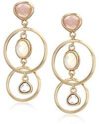 Anne Klein - Gold Tone Multi Stone Drop Earrings - Lyst