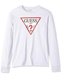 9ce4a7b2 Guess Long Sleeve Classic Logo T-shirt in Black for Men - Lyst