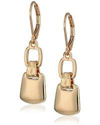 Nine West - Gold-tone Dbl Drop Hoop Earrings, Size 0 - Lyst