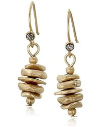 Kenneth Cole - Gold Stacked Geometric Bead Drop Earrings - Lyst