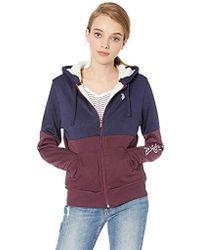 608220727331 Two Color Sherpa Lined Fleece Hooded Jacket - Lyst
