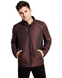 Guess - Long Sleeve Liam Iridescent Moto Jacket - Lyst