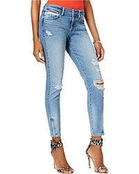Guess - Mid Rise Crop Jean With Zipper - Lyst