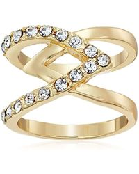 Guess - Basic Criss Cross With Stones Ring, Size 7 - Lyst