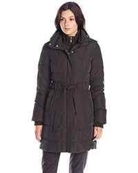 ad3ea0f07fde Ellen Tracy - Outerwear Mid Length Hooded Down Coat With Cable Knit Trim -  Lyst