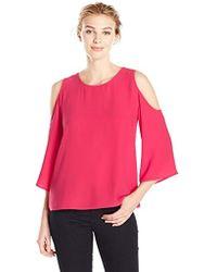 Lark & Ro - Cut Out Shoulder Blouse - Lyst