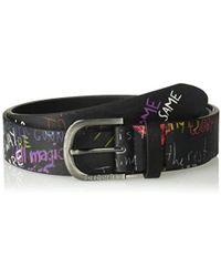 Lyst - Desigual Cint embroidered Belt Caribou in Black 943f48d5814