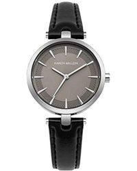 Karen Millen - Quartz Silver-tone And Leather Casual Watch, Color:black (model: Km153b) - Lyst