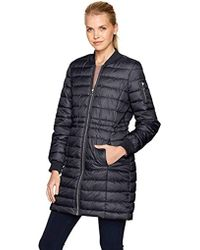 Kenneth Cole - Lightweight Anorak Puffer Varsity Rib Knit Trims - Lyst