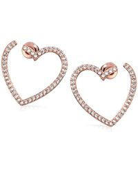 Kate Spade - S Pave Heart Bypass Hoop Earrings, Clear/rose Gold - Lyst
