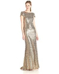 Badgley Mischka - Cowl Back Sequin Classic Gown - Lyst