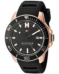 Tommy Hilfiger - Quartz Gold And Silicone Watch, Color:black (model: 1791266) - Lyst