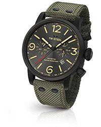 TW Steel - ' Maverick' Quartz Stainless Steel And Nylon Dress Watch, Color:green (model: Ms124) - Lyst