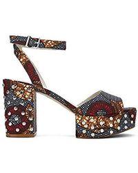 a7fd52b51ea Kenneth Cole - New York Pheonix Stud Leather Platform Sandal - - Lyst