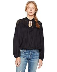 Lucky Brand - Lace Mix Peasant Top - Lyst