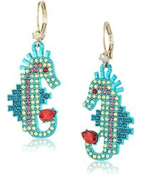 Betsey Johnson - S Colorful Multi-stone Seahorse Drop Earrings - Lyst