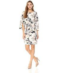 Calvin Klein - Printed Slit Flare Sleeve Dress - Lyst