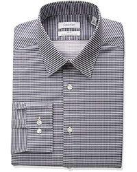 Calvin Klein - Non Iron Stretch Slim Fit Square Print Dress Shirt - Lyst
