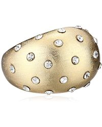 Chamak by Priya Kakkar - Sterling Silver Rounded Raised With Crystal Dots Ring, Size 7 - Lyst