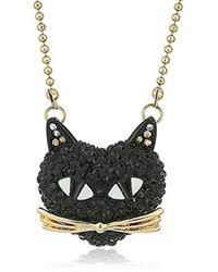 "Betsey Johnson - Skeletons After Dark Pave Cat Pendant Necklace, 16"" + 3"" Extender - Lyst"