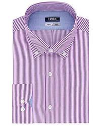 Izod - Slim Fit Stripe Buttondown Collar Dress Shirt - Lyst