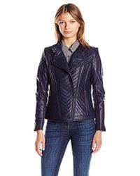 Badgley Mischka - Hayden Quilted Asymmetrical Leather Jacket - Lyst