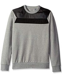 Kenneth Cole Reaction - Crew Knit Sweatshirt With Suede - Lyst