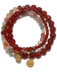 Satya Jewelry - Carnelian & Rutilated Quartz Gold Ganesha Mandala Stretch Bracelet Set, Orange, One Size - Lyst