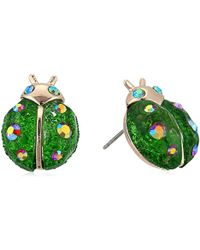 Betsey Johnson - S Green Ladybug Stud Earrings - Lyst