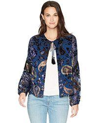 Ella Moon - Nala Burnout Velvet Print Tassel Trim Jacket - Lyst