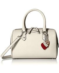 c484c44cd7c Calvin Klein Saffiano Leather Key Item Demi Shoulder Bag With Charm Hanger  in Natural - Lyst