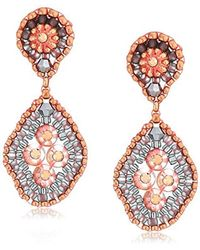 Miguel Ases - Quadruple Swarovski Cluster Rounded Rhombus Contrast Post Earrings, Rose Gold And Flint - Lyst