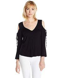 71a626b70a2242 Lyst - Ella Moss Bella Cold Shoulder Cowl Neck Top in Black