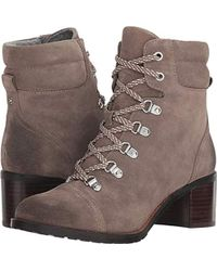 e1841b22681f8c Lyst - Sam Edelman Manchester Faux Fur Suede Lace-up Boots in Gray
