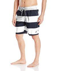 Nautica - Quick Dry Striped Swim Trunk - Lyst