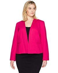 Nine West - Plus Size Solid Ponte Kiss Front Jacket - Lyst