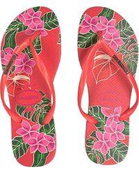dac36748ca3549 Havaianas - Slim Floral Sandal Coral - Lyst